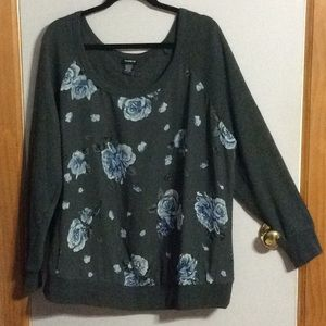 Torrid Raglan Blue Flower Shirt